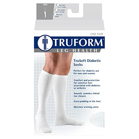 Amazon.com: Truform Cushioned 8-15 mmHg Crew Length Compression Socks for Men and Women, White, Medium: Health & Personal Care
