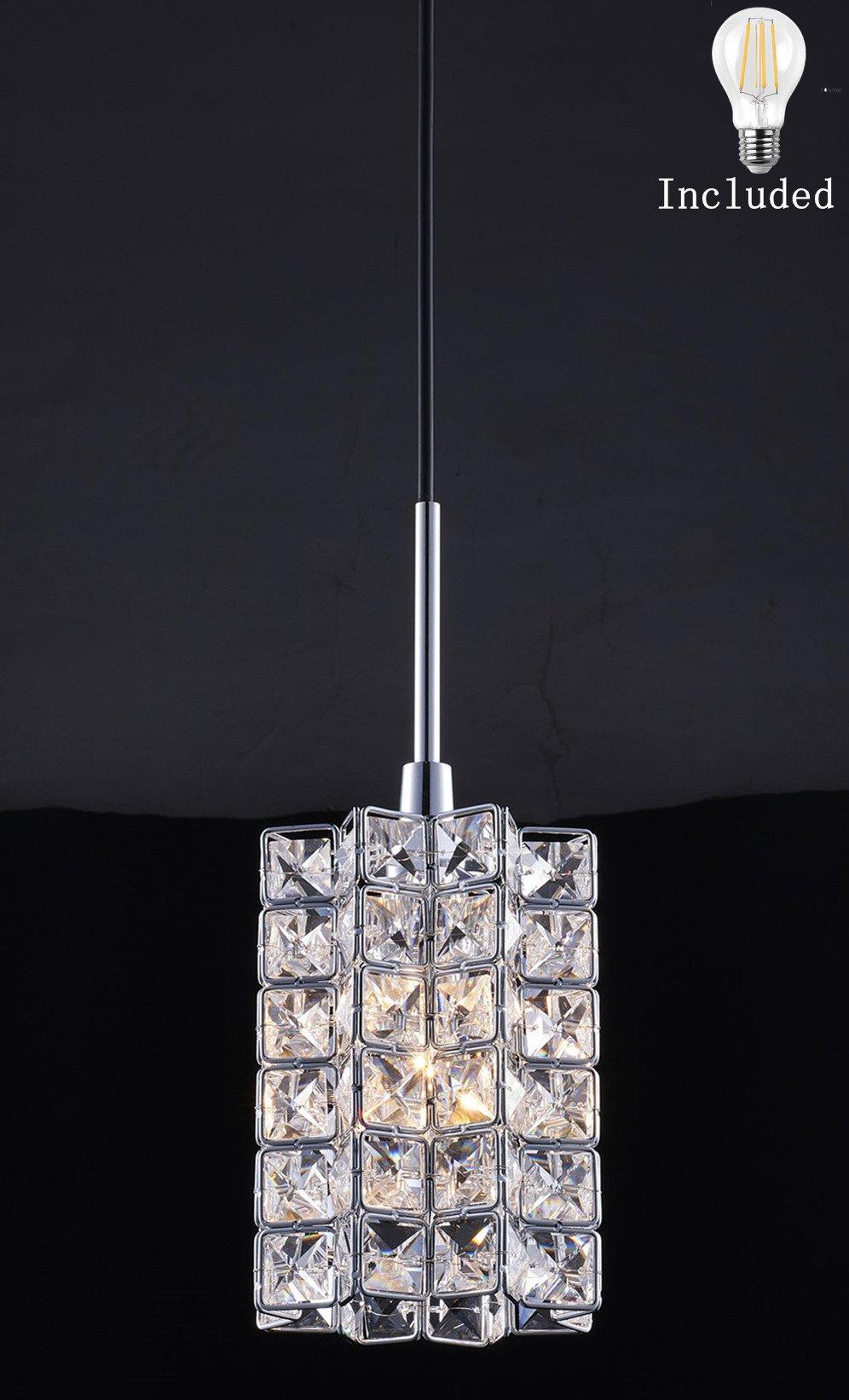Smart Lighting-Shupregu 1-light pendant lighting, Crystal mini pendant light fixtures,Chrome finish crystal pendant lamp, for Kitchen Island, Dining room, Cafe,Bar,Dimmer LED bulb Included by SHUPREGU