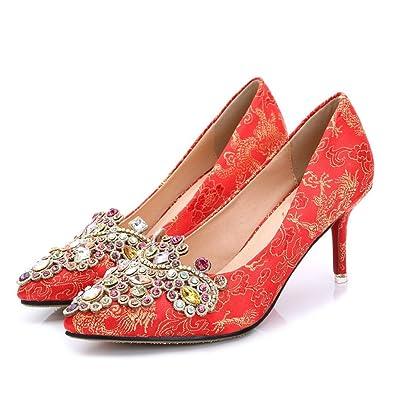 Xianshu Retro Hochzeit rote Schuhe Strass gestickte Stilett spitze Zehe Pumps(Rot-41) AoYHCa33K