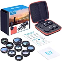 AICONEZ Apexel 10 in 1 CELL PHONE CAMERA LENS Kit Wide Angle Lens & Macro Lens+Fisheye Lens+Telephoto Lens+CPL/Flow/Radial/Star Filter+Kaleidoscope 3/6 Lens for iPhone Samsung Sony and Most of Smartphone Valentines Gift Promo