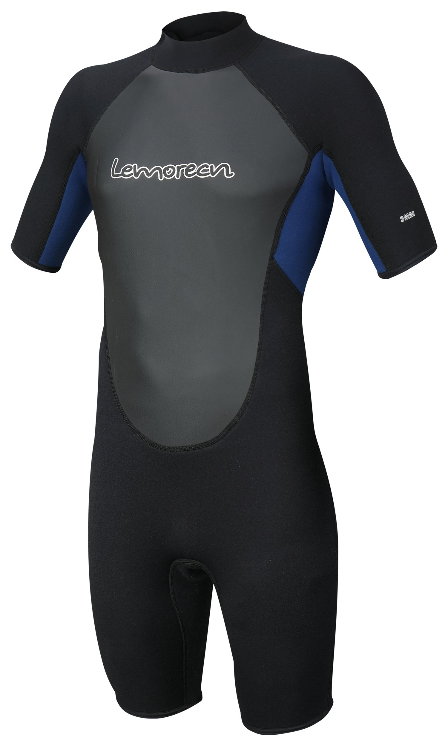 Lemorecn Wetsuits Mens Neoprene 3mm Shorty Diving Suit(3036blackblue-S)