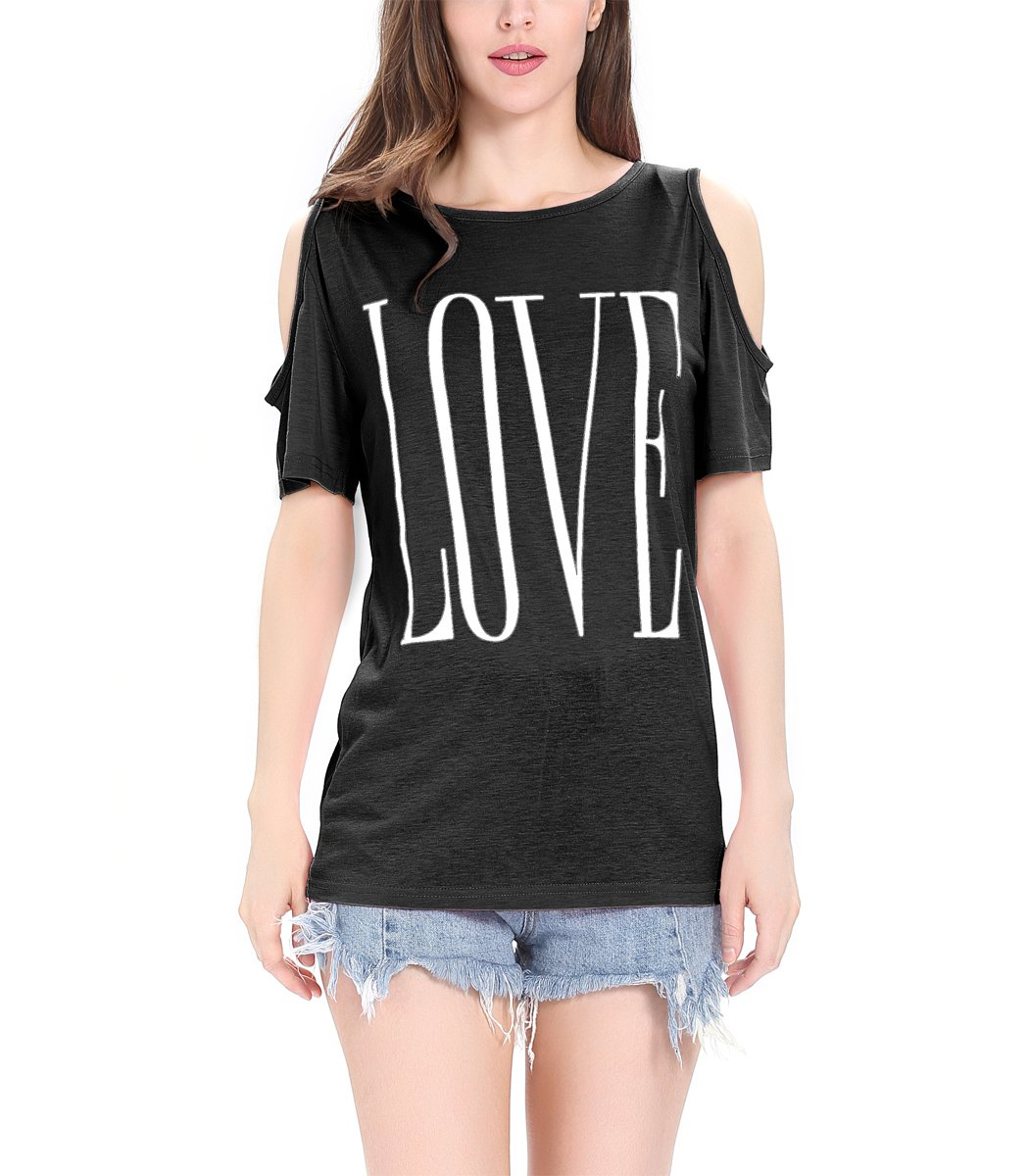 Finyosee Women's Cute Cold Shoulder, Round Neck, Short Sleeve Tops, Base T-Shirt with Love Print
