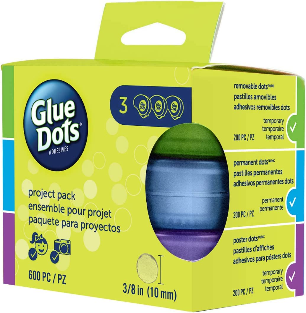 Glue Dots Project Pack, Includes 3 Dispensers, Each with 200 (.375 Inch) Diameter Adhesive Dots, Permanent, Removable and Poster Adhesives (24113)