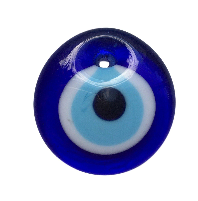 3 ojos turco para colgar- cristal contra el mal de ojo azul y blanco y para la buena suerte, 4 cm de diametro con agujero Equal Earth