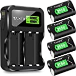 Taiker Compatible with Xbox One Battery 4 Pack x 2550mAh Rechargeable