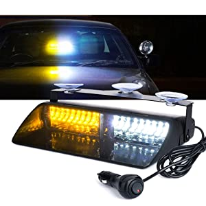 Xprite White and Yellow 16 LED High Intensity LED Law Enforcement Emergency Hazard Warning Strobe Lights For Interior Roof/Dash / Windshield With Suction Cups