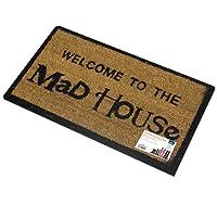 JVL Novelty PVC Backed Coir Mad House Entrance Door Mat, Vinyl, Brown, 33 x 60 cm