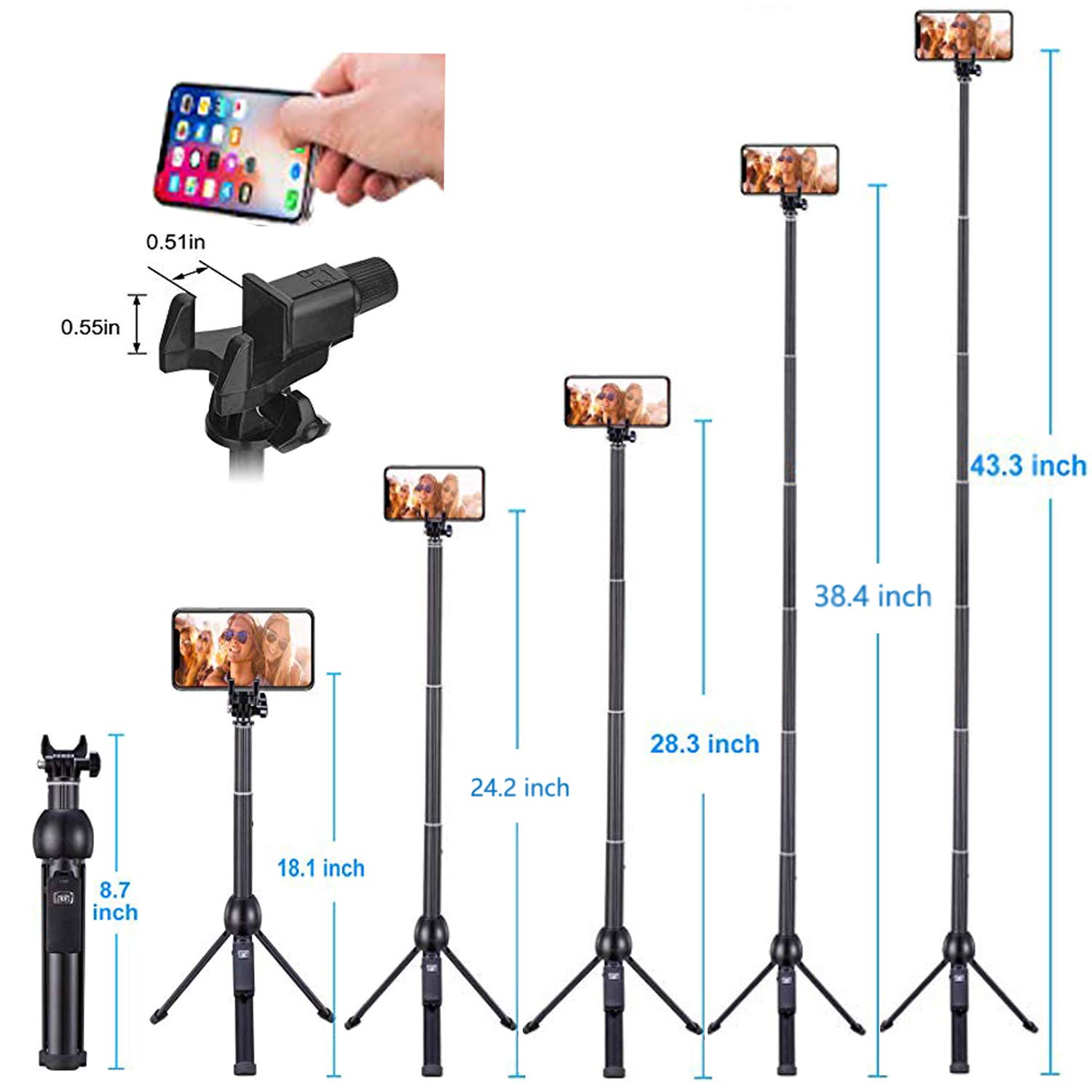 Eocean 45-Inch Selfie Stick Tripod, Extendable Selfie Stick with Wireless Remote Compatible with iPhone Xs/Xr/Xs Max/X/8 Plus/8/ iPhone XR/iPhone XS/iPhone XS Max/7 Plus/Galaxy Note 9/S9/S9 Plus/GoPro by Eocean (Image #5)