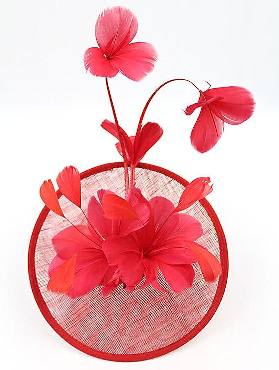 Fascinator Hair Hoop Cocktail Hat Feather Wedding Pillbox Hat for Women