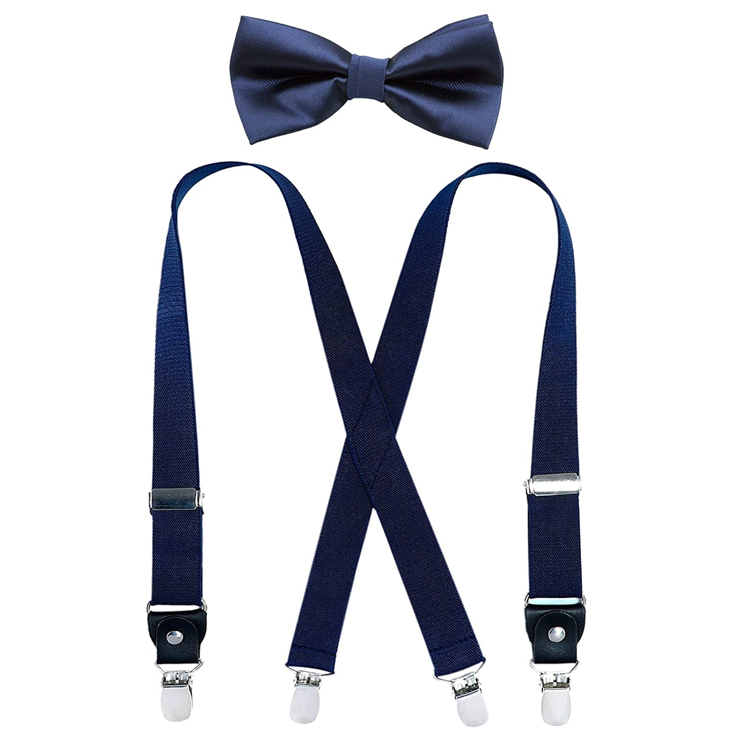 Kids Boy Suspenders Bowtie Set 9 Years to 5 Feet Tall , Navy blue Adjustable Suspender and Pre tied Bow Tie Set for Men 31Inches