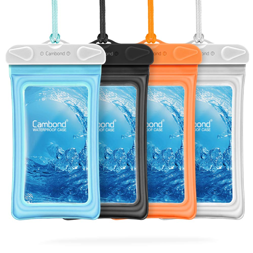 """Floatable Waterproof Phone Pouch, Cambond Floating Water Proof Cell Phone Case Both Sides Clear Dry Bag for iPhone XS Max/XR/X/8/7 Plus Galaxy Pixel Up to 6.5"""", Snorkeling Cruise Ship Kayaking, 4 Pack"""
