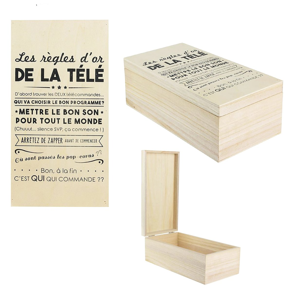 Les Tresors De Lily [Q0514] - Storage box wood remotes messages (the golden rules of tv)- 27x14x10 cm (10.63''x5.51''x3.94'').