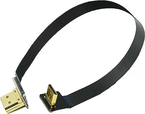 40CM panasonic lumix GH3 GH2 Black FPV Flat HDMI Cable Mini Male HDMI 90 Degree up to Standard HDMI Full HDMI Normal HDMI Female HDMI for rig Gimbal Canon 5D3 5D2 Sony nex 5N 5T 5R 7N
