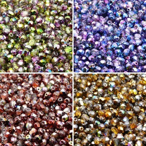 400 Beads 4 colors Unique Set 408 Czech FirePolished Faceted Glass Beads Round 4 mm, 4FP012 4FP013, 4FP014, 4FP015