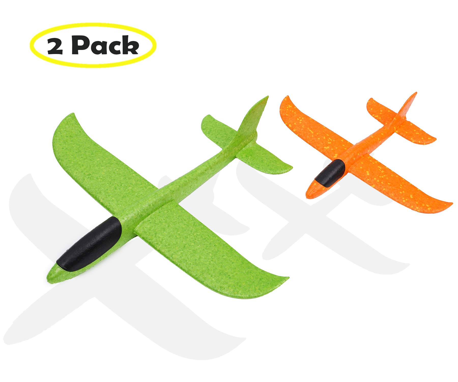 Vigeiya 2 Pack Upgraded 19 inches Throwing Foam Airplane Outdoor Sports Toy Hand Launch Glider