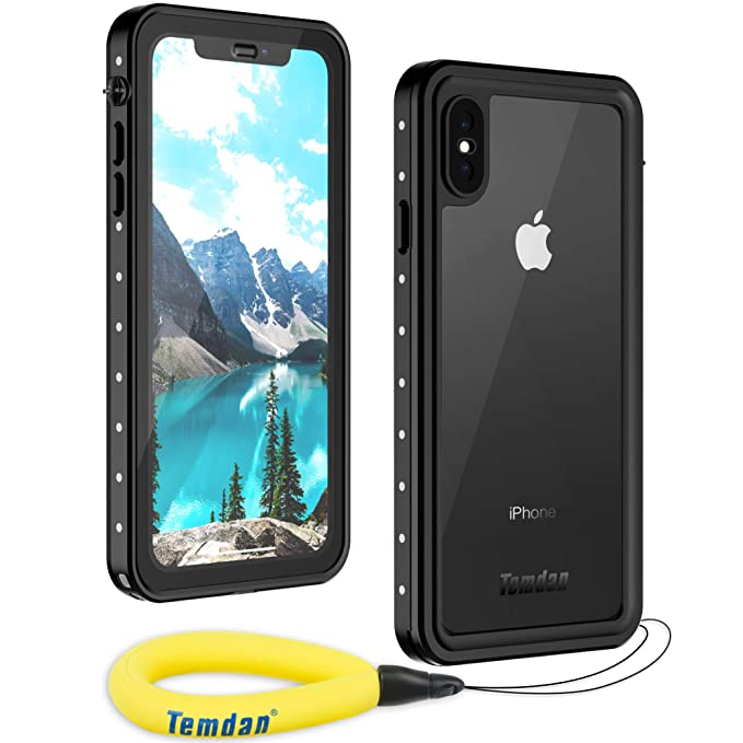 new arrival d7370 e490b Waterproof iPhone Xs Max Case, Temdan Rugged Heavy Duty Support Wireless  Charging Full Body Shockproof Clear Case Built in Screen Protector  Waterproof ...