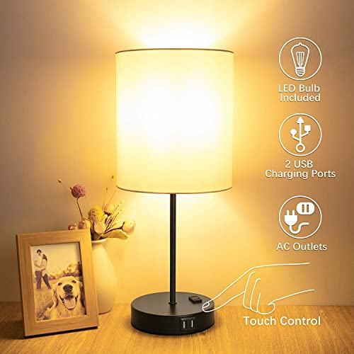 Table Lamp Touch Control, 3 Way Dimmable Bedside Lamp, 2 Fast USB Charging Ports Touch Lamp Desk Lamp, AC Outlet Modern Nightstand Lamp for Bedroom Living Room Office LED Bulb Included