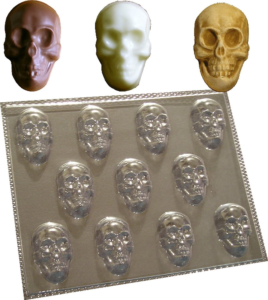 11 CAVITY SKULLS MOULD FOR CHOCOLATE SOAP WAX MELTS MOLD dennycraftmoulds.co.uk