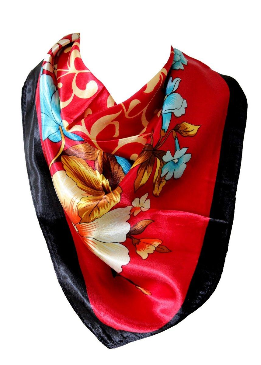 Gorgeous Floral Print Silk Satin Style Bandana Scarf Square