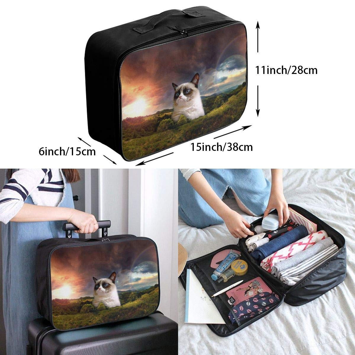 Huge Grumpy Cat In Mountain Travel Lightweight Waterproof Foldable Storage Carry Luggage Duffle Tote Bag Large Capacity In Trolley Handle Bags 6x11x15 Inch