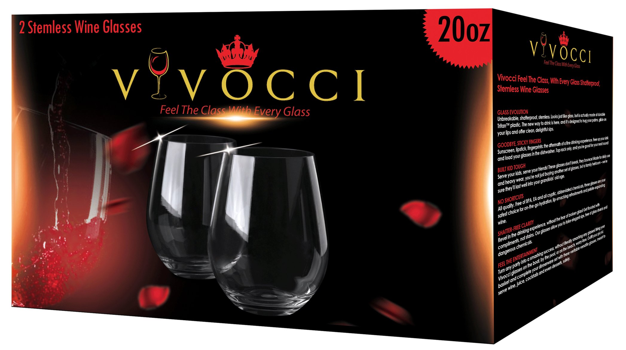 Vivocci Unbreakable Elegant Plastic Stemless Wine Glasses 20 oz | 100% Tritan Heavy Base | Shatterproof Glassware | Ideal For Cocktails & Scotch | Perfect For Homes & Bars | Dishwasher Safe | Set of 2 by Vivocci (Image #2)