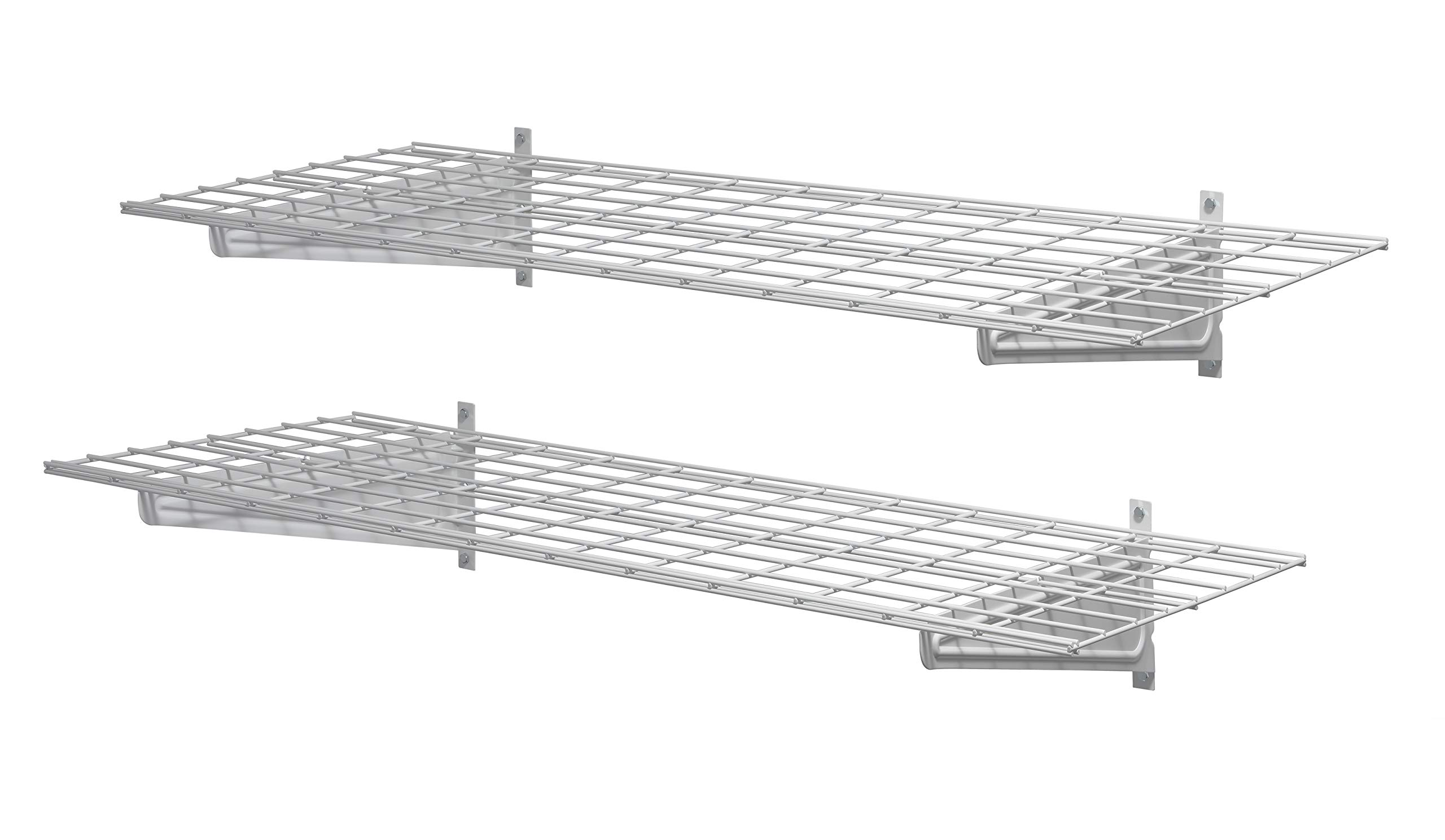 Muscle Rack HWS4818-2PKW Heavy-Duty 48'' 2 Pk Wall Shelf, 11'' Height, 48'' Width, 18'' Length, (Pack of 2)