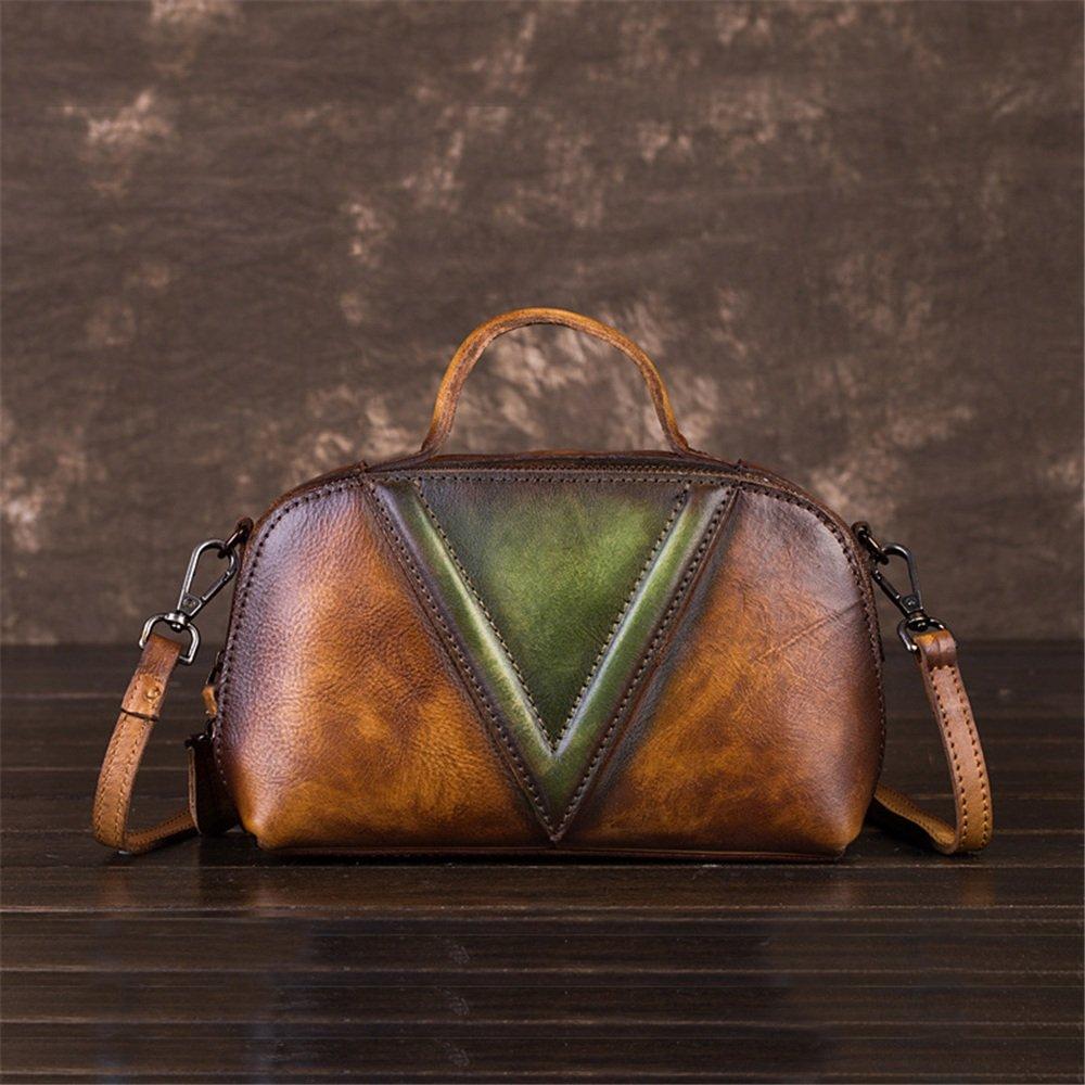 レトロ風の色の女性のハンドバッグソリッドカラートートバッグ斜めの小さなバッグ (色 : 褐色)  褐色 B07HGNGMTH