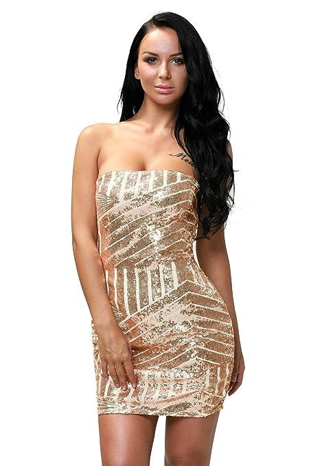 New Rose Gold Sequin Strapless Mini Dress Club wear Party wear Summer wear Bodycon Dress Size