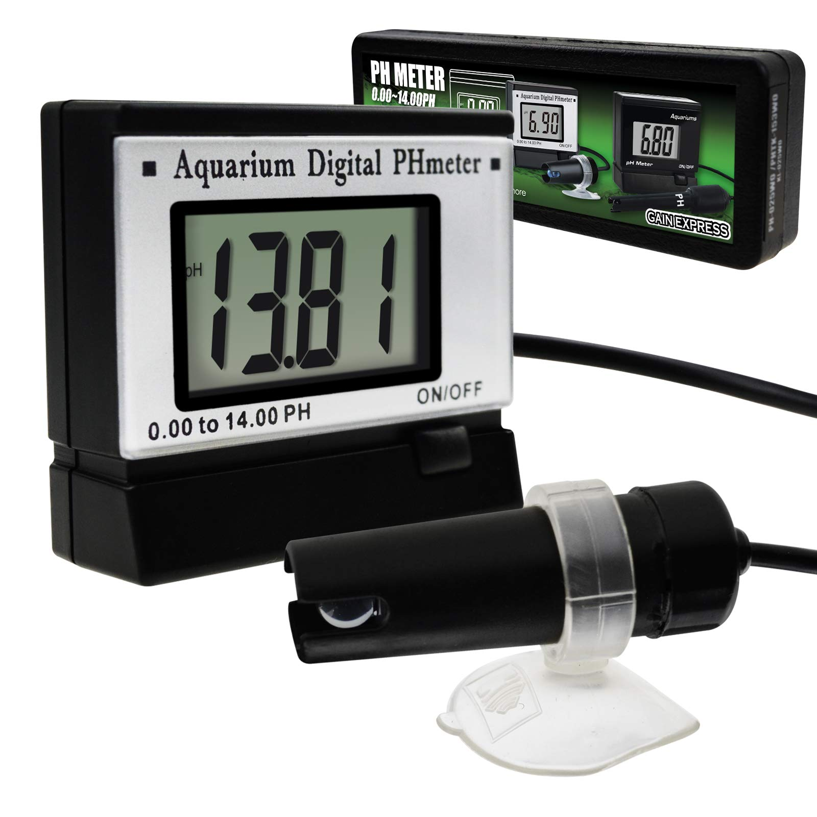 Digital pH Monitor Meter ATC 0.00~14.00pH w/ Power Adaptor & 1.5M Long Electrode Probe, Continuous Water Quality Monitoring Tester Kit Aquarium Hydroponics Spa Tank Pool Laboratories Portable