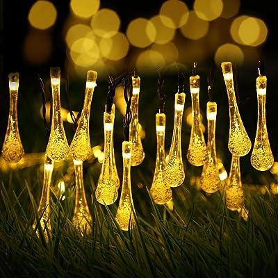 Berocia Guirlande Lumineuse Interieur Solaire Exterieur LED 6.5 Mètre 30  LED 8 Modes Goutte Du0027eau En Cristal Pour Chambre Enfant Jardin Noël Fête