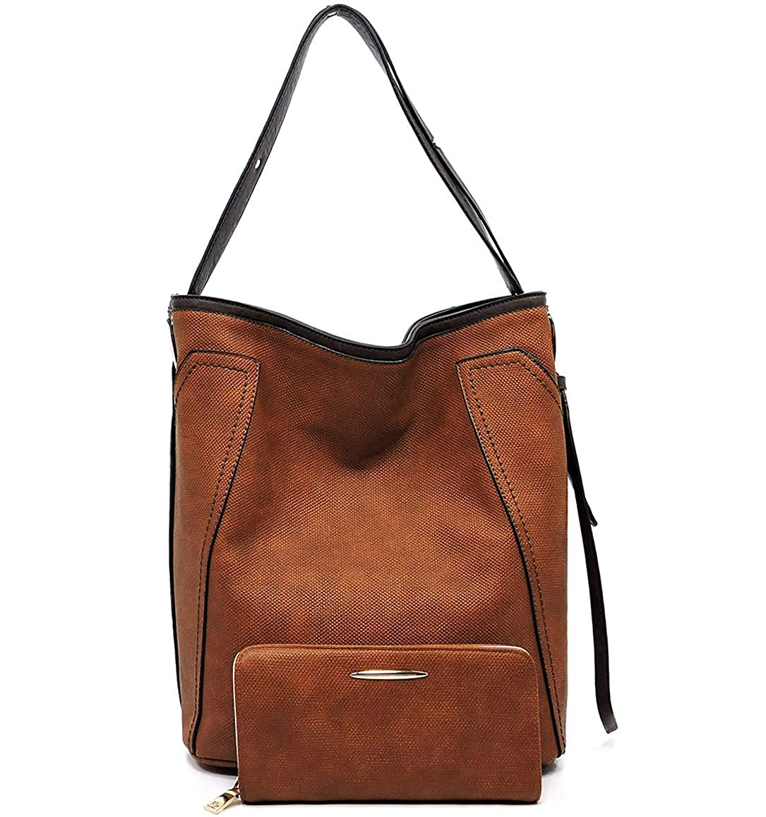 Brown Le Miel Textured ZipTop Bucket Hobo w Strap + Wallet