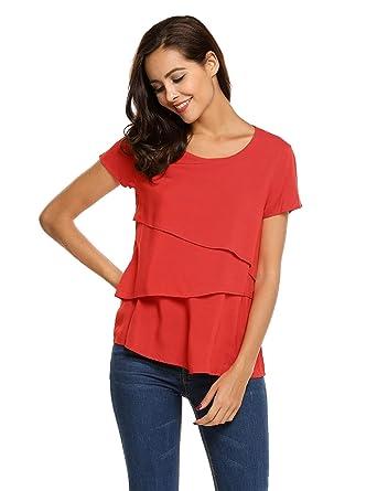Meaneor Damen Shirt Volant Bluse Baumwolle Oberteil Kurzarm T Shirt Tunika   Amazon.de  Bekleidung c3fbf66094