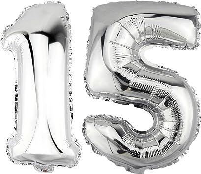 Folienballon Zahlenballon Geschenk Luftballon Geburtstag Silber 80cm Zahl 64