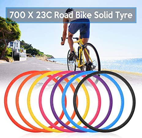 Bike Solid Tire 700x23C Road Bike Bicycle Cycling Riding Tubeless Tyre Wheel UK