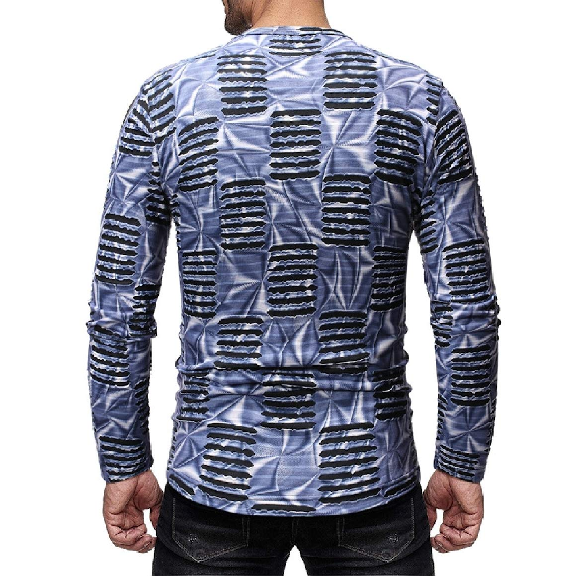 Abetteric Mens Solid Long Sleeve Classic Hip Hop Printing Chic Soft Tees Top