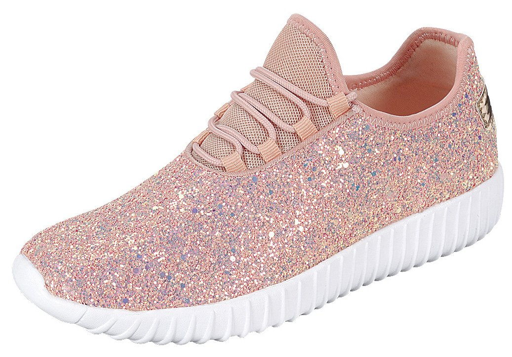 Cambridge Select Women's Closed Toe Glitter Encrusted Lace-up Casual Sport Fashion Sneaker B07DX8XS21 5 B(M) US|Dusty Rose