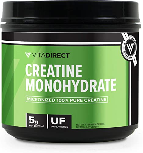 VitaDirect Bulk Creatine Monohydrate 500g Micronized for Absorption, 5g per Serving, 100 Servings