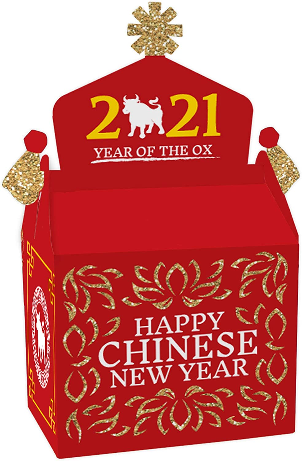 Big Dot of Happiness Chinese New Year - Treat Box Party Favors - 2021 Year of the Ox Party Goodie Gable Boxes - Set of 12