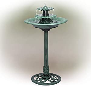 Alpine Corporation TEC106 Tiered Classic Pedestal Garden Water Birdbath Floor Fountain, One Size, Green