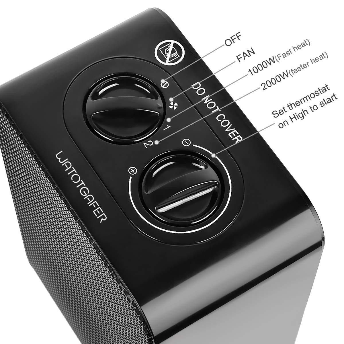 45/°Doscillation Protection Anti-Surchauffe 2 puissances 2000 W Chauffage Mobile Soufflant Convient pour Salon WATOTGAFER Mini Radiateur Soufflant Electrique C/éramique Chambre et Bureau