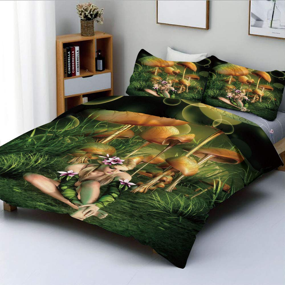 Duplex Print Duvet Cover Set Queen Size,Fairy Woman in Enchanted Forest Elf Pixie Fungus Growth Flowers GrassDecorative 3 Piece Bedding Set with 2 Pillow Sham,Green Light Brown Pink,Best Gift For Kids