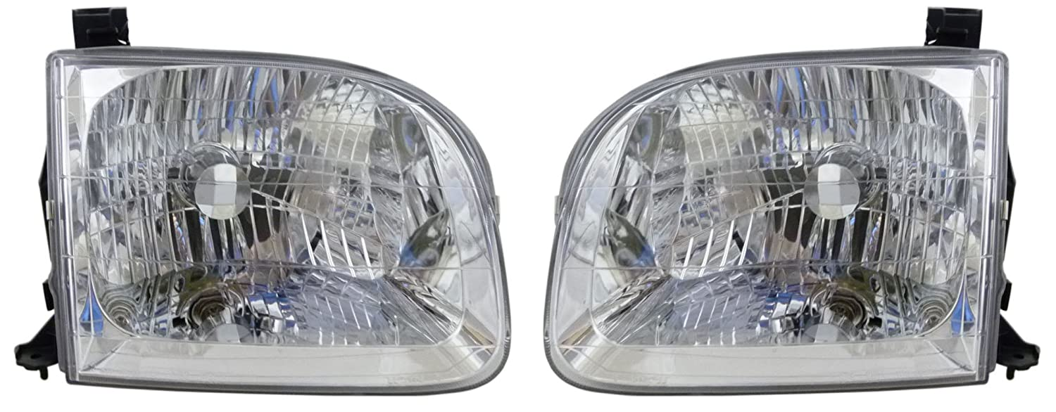 SR5 Crew//Double//Extended Cab 4-Door Models 2001-2004 Toyota Sequoia /& 2004 Tundra Pickup Truck 2001 01 2002 02 2003 03 2004 04 Headlight Headlamp Head Light Lamp Pair Set Right Passenger And Left Driver Side