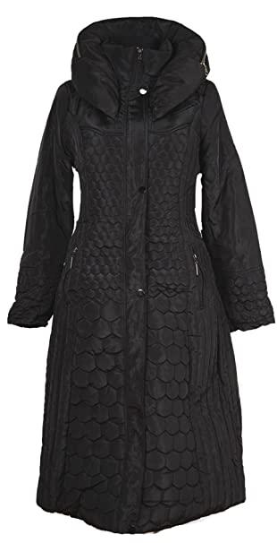 Italy Donna Damen Lang Wintermantel Mantel Kapuze Steppmantel Parka Trench Coat schwarz 38 40 42 44 46 48 50 52 54 38 SML XL XXL 3XL warm Jacke