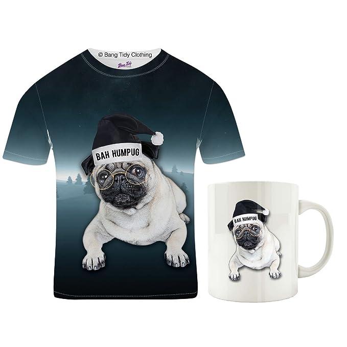 Men's Pug Gifts Pug T Shirt Bah Humpug Pugs Mug Christmas Birthday Gift Set for Pug Dogs Lovers