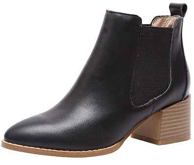 SimpleC Mujeres Chelsea Boots Casual Banda elástica Punta Cuadrada, Botines de Tobillo con 5.5cm de Altura del talón neg-1(p) 34: Amazon.es: Zapatos y ...