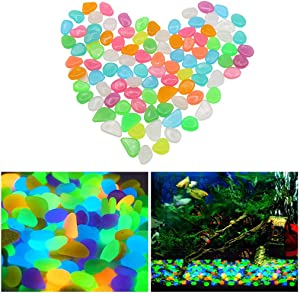 Aihotim 100 PCS Colorful Glowing Stones, Fish Tank Glow Gravel, Glow in The Dark Aquarium Pebbles, Decorative Gravel Rocks, Glowing Pebbles Luminous Stones for Plant Aquariums, Landscaping, Home Decor