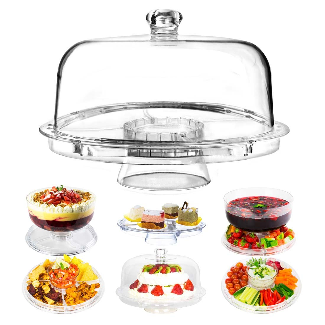 Dome Cake Stand   6 in 1 Multifunctional 12 Inch Serving Platter with Crystal Clear Acrylic Display for Dessert Tray Fruit Cookie Sweets Muffin Salad Server Punch Bowl for Weddings and Parties   1273