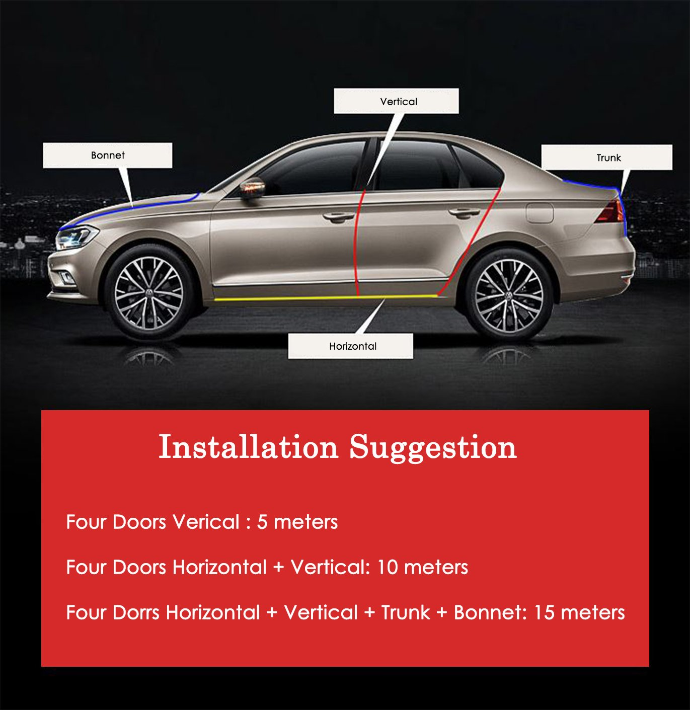 Eximone 【No adhesives required】 3D Car Door Edge Seal Guard Protector U-Shape with Steel Sheet for Car SUV Vehicles 16Ft 5M