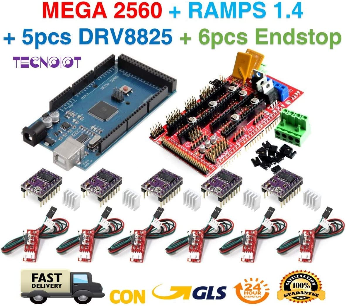 TECNOIOT Kit de Impresora 3D para Arduino Mega 2560 Junta de Desarrollo R3 + RAMPAS 1.4 Controller + 5 unids DRV8825 Motor Paso A Paso módulo + 6pcs Endstop
