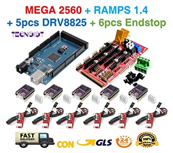 TECNOIOT Kit de Impresora 3D para Arduino Mega 2560 Junta de Desarrollo R3 + RAMPAS 1.4 Controller + 5 unids DRV8825 Motor Paso A Paso módulo + 6pcs ...